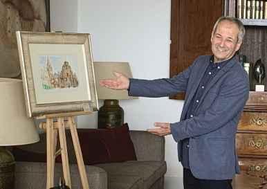 14 Antonio Aráez García da el visto bueno para la inauguración de su exposición de pintura en AIF, Club Financiero Génova, Madrid